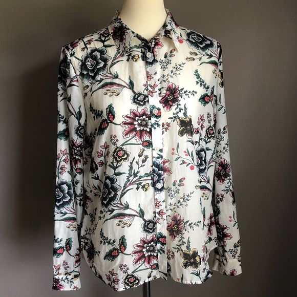 ed83b1554 LOFT Tops | Ann Taylor Sheer Button Down Floral Sz M | Poshmark
